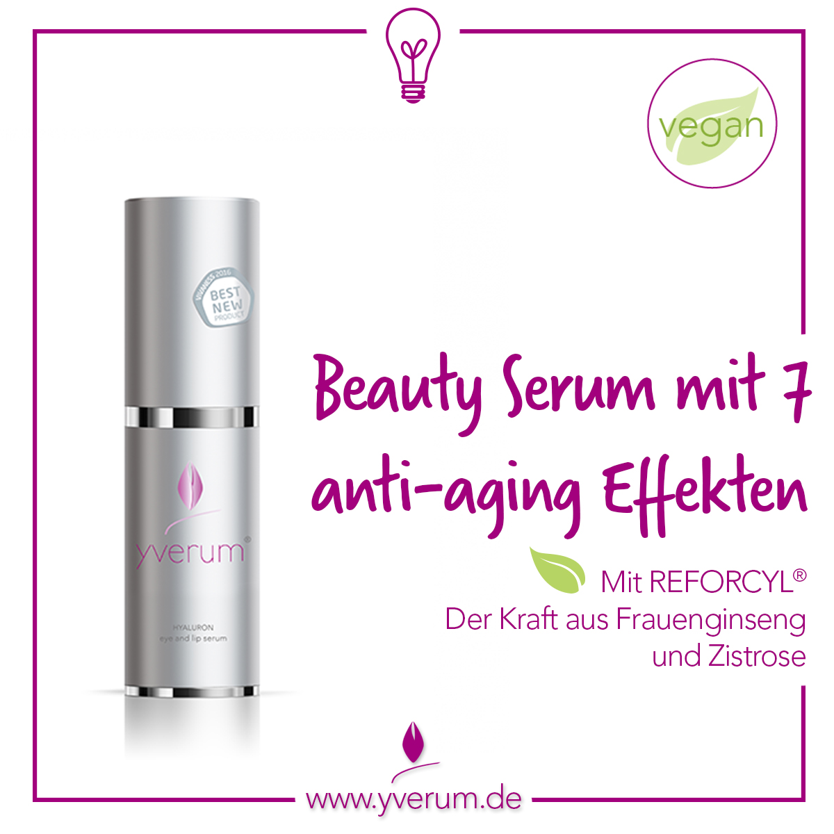yverum Beauty Serum eye and lip serum mit Hyaluronsäure und Reforcyl